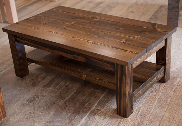 4' Coffee Table with Added Shelf All Stained Dark Walnut - Coffee Tables Emmorworks