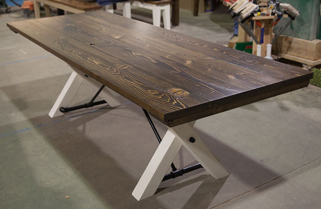 Attractive 8u0027 Trestle Table Top: Stained Dark Walnut (Distressed) / Base: Distressed  Ivory