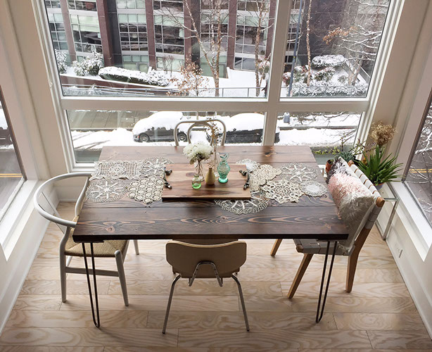 custom size 56 in industrial table with hairpin legs overview shot