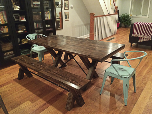 6u0027 Trestle Table All Stained Dark Walnut (Distressed) With Two Matching  Benches