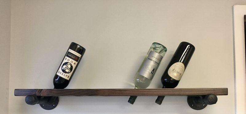 Wine Shelf Dark Walnut Distressed