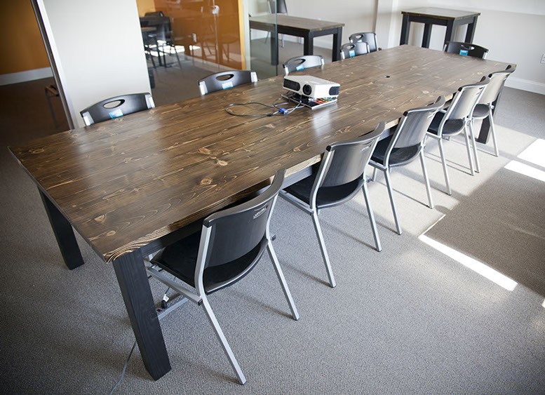 Gentil 12u0027 Wooden Conference Table Stained Dark Walnut Top With Painted Black Base  Top Includes Wire Access Holes