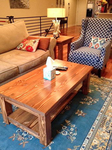 4- coffee table and end table english chestnut