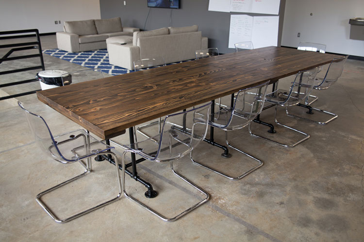Two 6u0027 Industrial Conference Tables (Extra Wide)    Distressed Dark Walnut