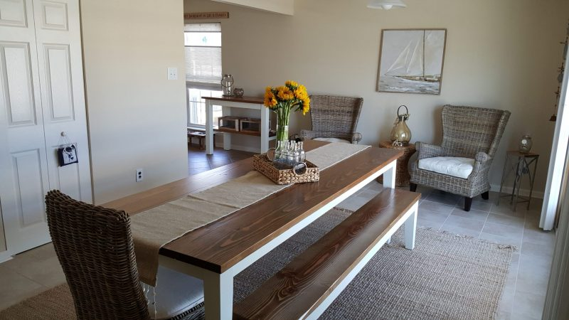8' Farmhouse Table with Tapered Legs and 2 Matching Benches