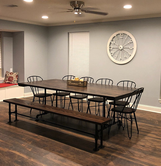 8′ Industrial Style Table with Bench Stained Dark Walnut