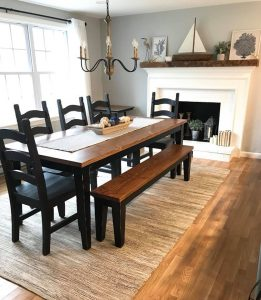 7' Farmhouse Table Stained Early American Distressed with Black Distressed Tapered Legs