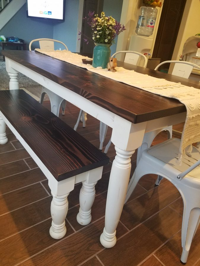 Farmhouse Table And Bench With Turned Legs