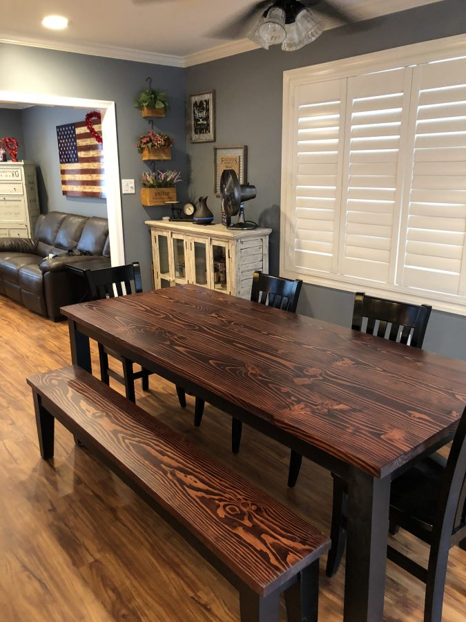 7′ Farmhouse Table Stained Red Mahogany and painted Black base