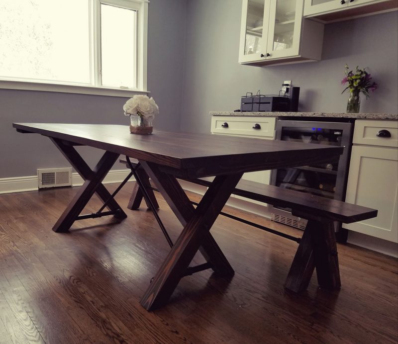 7′ Trestle Table Stained Dark Walnut (Distressed)