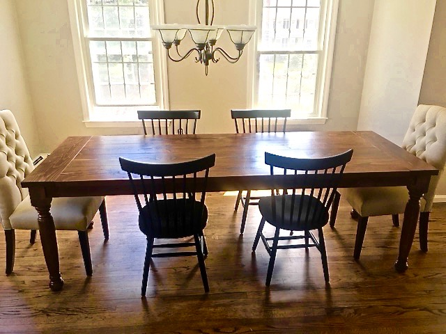 8′ Farmhouse Table with Turned Legs Stained English Chestnut (Distressed)