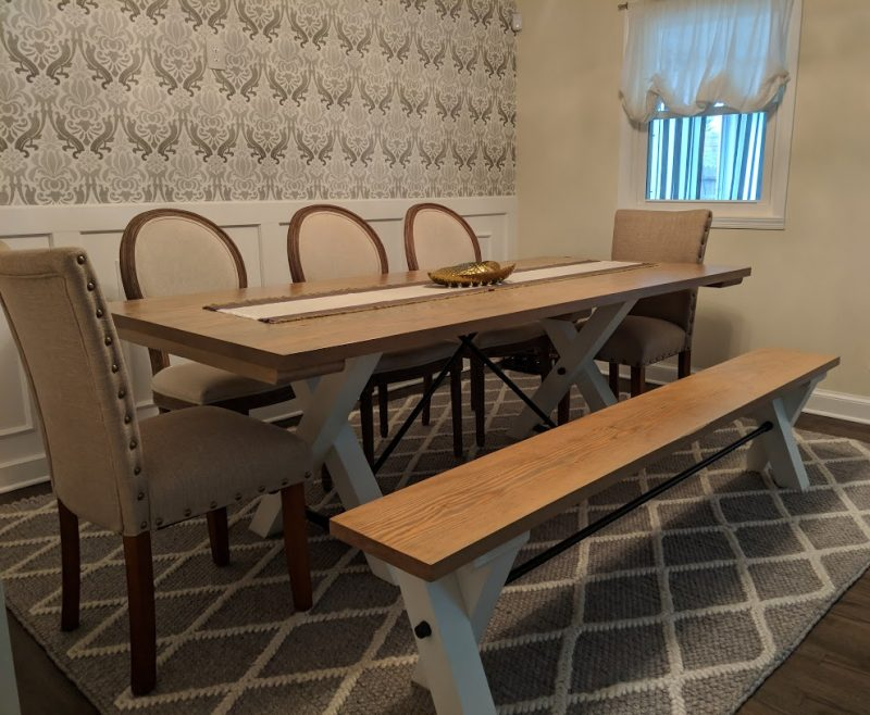 7′ Trestle Table with Matching Bench