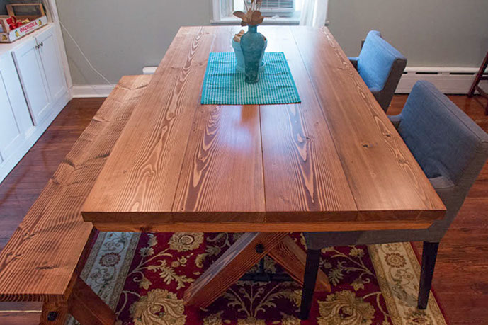 6u0027 Trestle Table    All Stained English Chestnut    Matching Bench