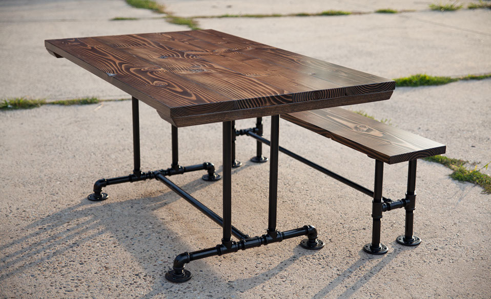 Charmant 5u0027 Industrial Pedestal Table Stained Dark Walnut Top With Matching Bench