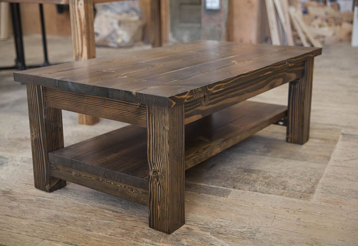 coffee table all stained dark walnut with shelf-001