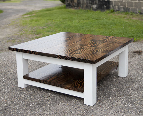 36 Square Coffee Table With Shelf Stained Dark Walnut Top Ivory Legs 4