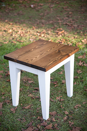 end table dark walnut with ivory apple festival