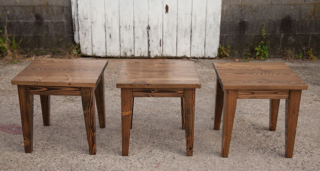 end tables dark walnut tapered in a row