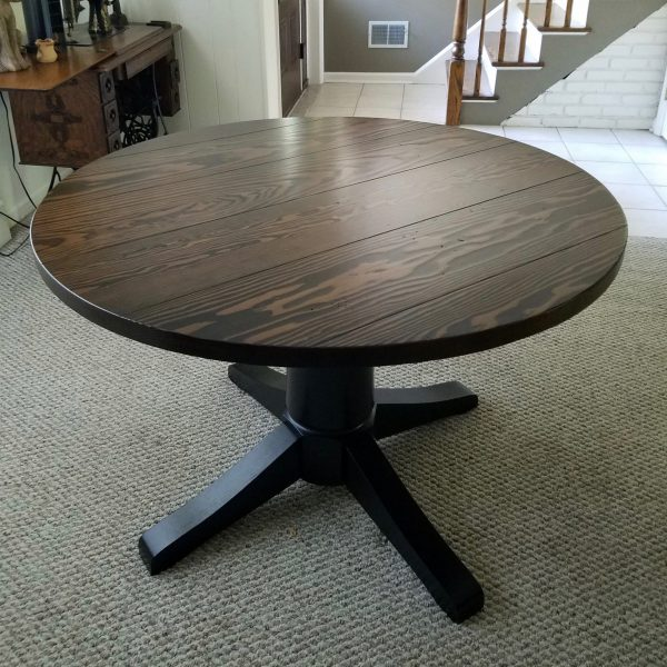 "44"" Round Wood Pedestal Base Table -- Top: Stained Dark Walnut / Base: Painted Black"