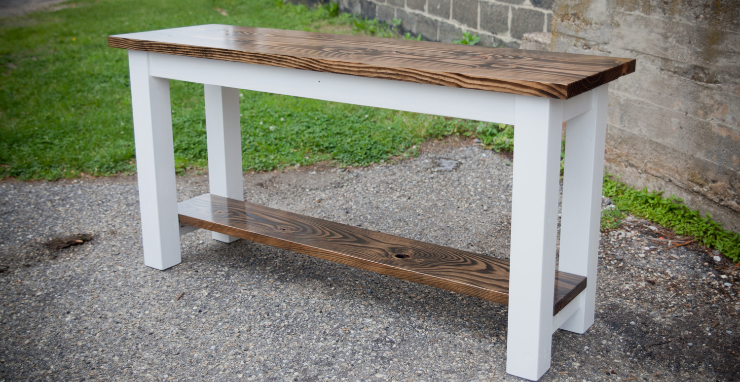 5u0027 Sofa Table    Top: Stained Dark Walnut    Base: Solid Ivory