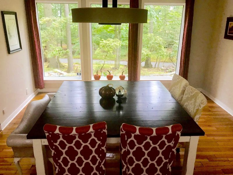 63″ Square Farmhouse Table –Table Top Option: Stained Dark Walnut (Distressed) Table Base Option: Square Legs Ivory (Distressed)