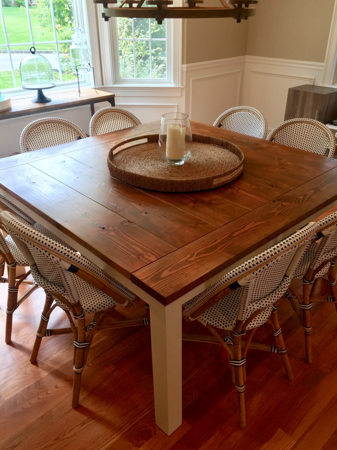 63″ Square Farmhouse Table with Breadboards — Top: Stained Early American (Distressed) : Base: Ivory