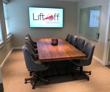 industrial style conference room table