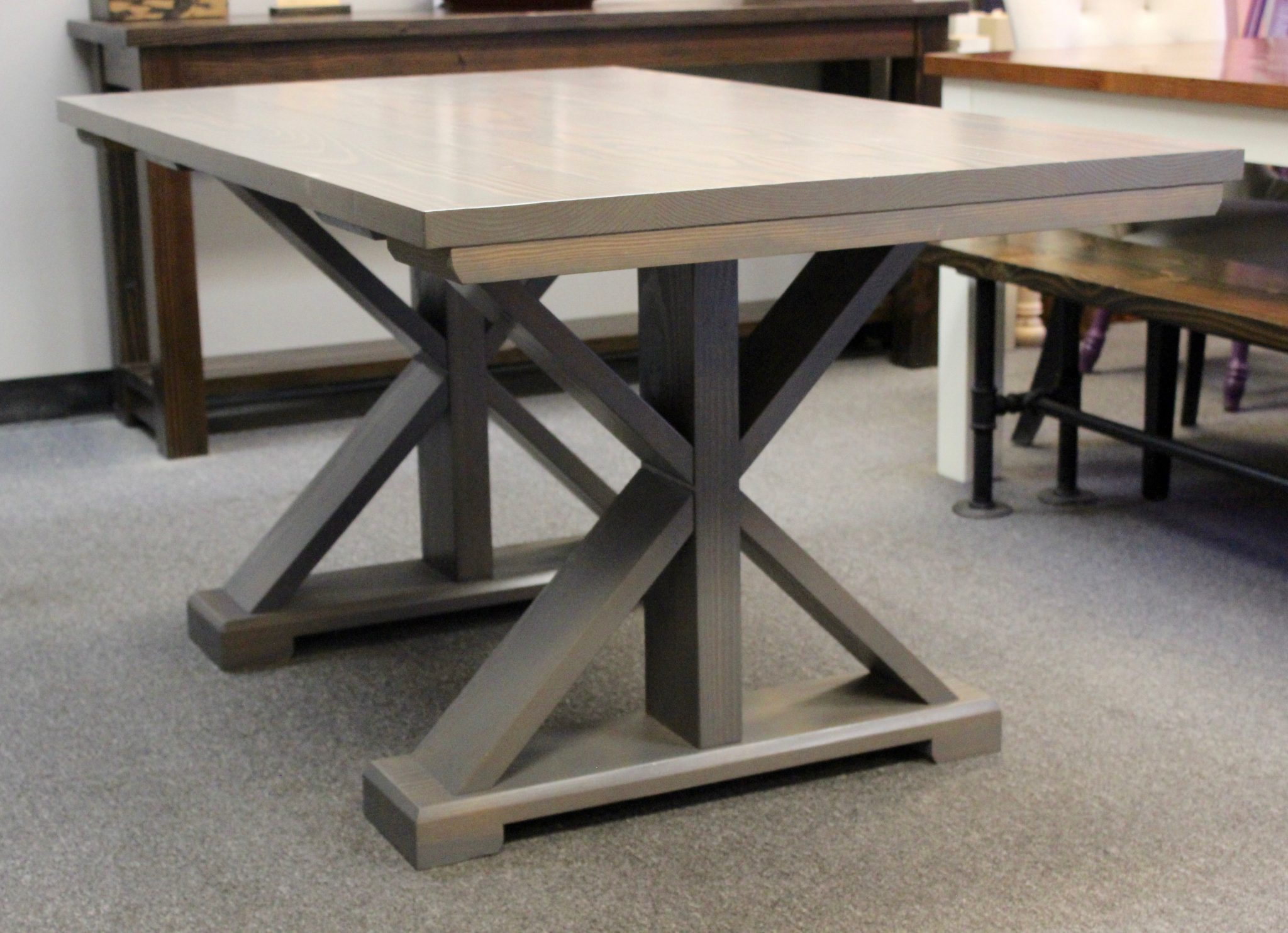 5' X Base Pedestal Table Stained Classic Grey (Distressed)