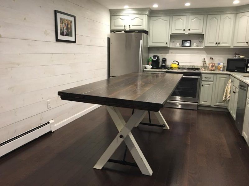 8′ Counter Height Trestle Table Top: Stained Dark Walnut (Distressed): Base: Ivory (Distressed)