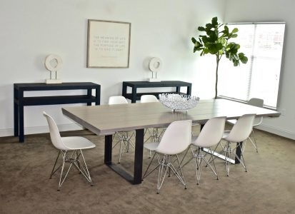 9' Classic Grey Steel Pedestal Table
