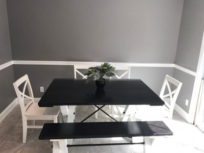 5' Trestle Table with matching bench