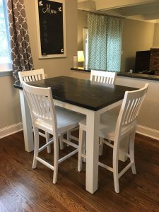 4' Farmhouse Table Stained Ebony with Simply White Base